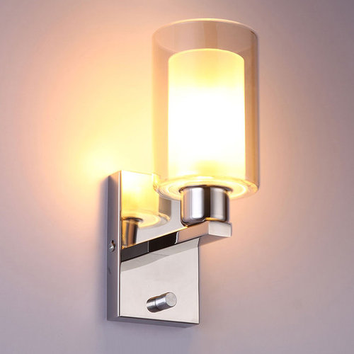 Wall sconceswall lights modern glass shade indoor wall light with chrome stainless steel base single lig wall sconces aloadofball Image collections