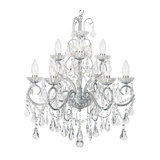 Bathroom 9 Light Chandelier With Crystal Glass, Chrome