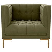 Saga Square Velvet Accent Chair, Olive Green