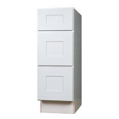 "Everyday Cabinets - White Shaker 3-Drawer Base Kitchen Cabinet, 15""x34 ..."
