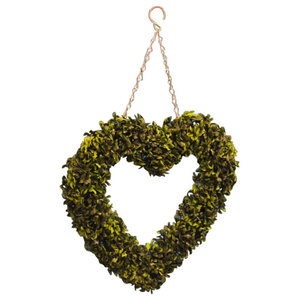 Buxus Leaf Effect Artificial Topiary Boxwood Hanging Heart