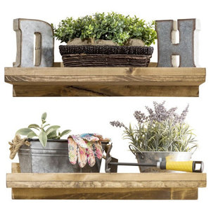 Stained Floating Shelves, Set of 2 - Rustic - Display And