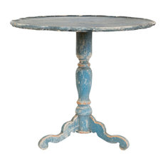Klimt French Country Swedish Blue Wood Pedestal Side Table   Side Tables  And End Tables