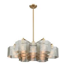 Thirteen Light Quatrefoil Chandelier Hexagonal Perforated Metal Diffusers