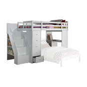 Freya Loft Bed and Bookshelf Set, White, Twin, 66""
