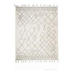Pyper Gray and Ivory Geometric Shag Rug, 8'x10'