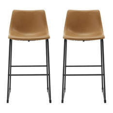 30-inch Industrial Faux Leather Barstool Set Of 2- Whiskey Brown