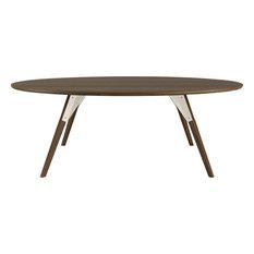 Clarke Oval Coffee Table, White, Large, Walnut