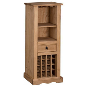 Traditional Wine Rack, Solid Wood With Drawer and Shelves for Extra Storage