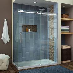 DreamLine   Frameless Sliding Shower Enclosure  Polished Steel   Shower  Stalls and KitsShower Stalls and Kits   Houzz. Corner Shower Stalls With Built In Seat. Home Design Ideas