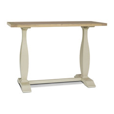 Sandford Trestle Console Table, Off White and Oak