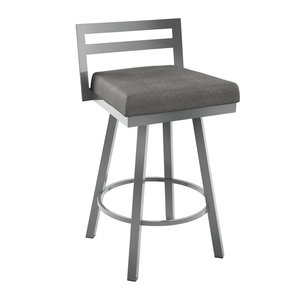 Derek Swivel Stool, Glossy Grey Metal/Light Gray Polyester, Counter Height