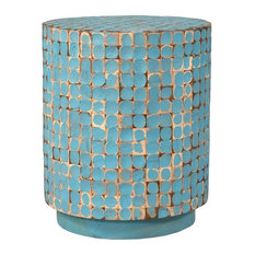 east at main east at mains brillion blue round coconut shell accent table side - Distressed End Tables