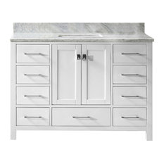 "Caroline Avenue 48"" Single Bathroom Vanity,White,Marble Top,Square Sink,Mirror"