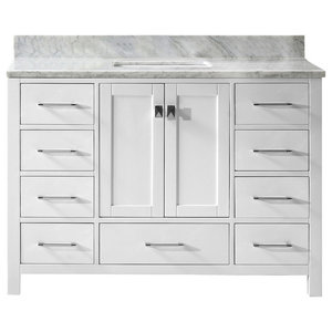 "Caroline Avenue 48"" Vanity, White, Marble Top, Square Sink, Mirror"