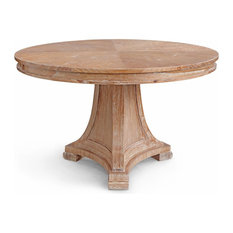 Pinney Coastal Beach White Wash Natural Wood Dining Table   Dining Tables