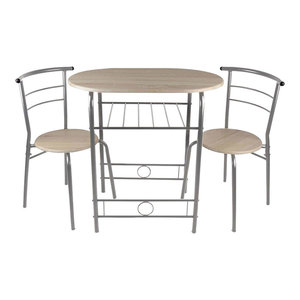 Contemporary 3-Piece Dining Set, Table With 2 Chairs, Wood & Metal Legs, Silver