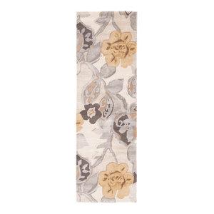 "Jaipur Living Petal Pusher Handmade Floral Multicolor/White Area Rug, 2'6""x8' Ru"