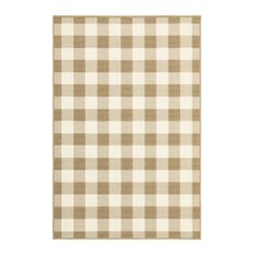 """Martinique Gingham Check Indoor/Outdoor Area Rug, Tan, 7'10""""x10'10"""""""