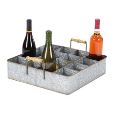 Industrial Wood and Metal 16-Bottle Table Top Wine Holder