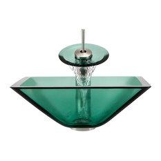 Polaris Sinks P306-E-WF-BN Emerald Vessel Sink and Faucet in Brushen Nickel