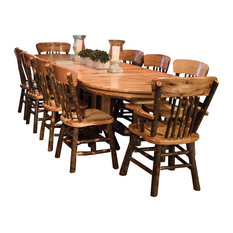 Rustic Hickory Double Pedestal Oval Dining Table With 10 Chairs