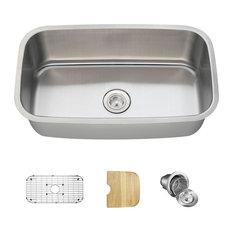 Single Bowl Stainless Steel Kitchen Sink, 16-Gauge, Ensemble