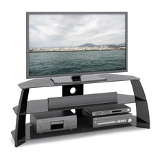 corliving llc taylor glossy black tv stand with glass shelves centers and