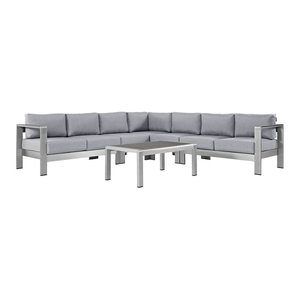 6-Piece Outdoor Sectional Sofa Set, Silver Gray