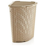 Superio Brand - Rattan Corner Laundry Hamper 1.47 Bushel / 52 Liter - This rattan corner laundry hamper is constructed from high quality durable plastic and offers a unique basket-weave design. It is in a triangle shape to fit corners. It provides a large size to store plenty of laundry and big holes for super ventilation. The removable hinged cover stays open for easy loading and emptying.