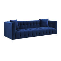 TOV Furniture - Bea Velvet Sofa, Navy - Sofas