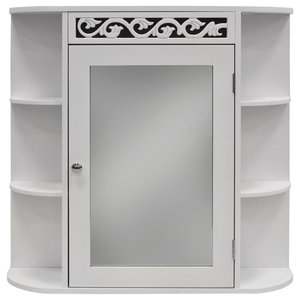 Scroll Wall Mounted Bathroom Mirror Wall Cabinet With Shelves, White