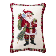 "18""x14"" Christmas at North Pole Santa Needle Point Pillow"