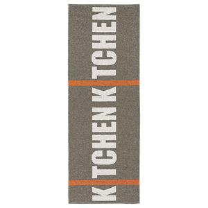 Kitchen Woven Vinyl Floor Cloth, Grey, 70x200 cm
