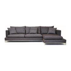 sohoConcept - Simena Sectional Sofa Gray Cotton Fabric - Sectional Sofas  sc 1 st  Houzz : down feather sectional - Sectionals, Sofas & Couches
