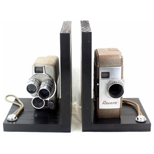 Vintage-Style Camera Bookends, Kodak Cine Eight - Industrial