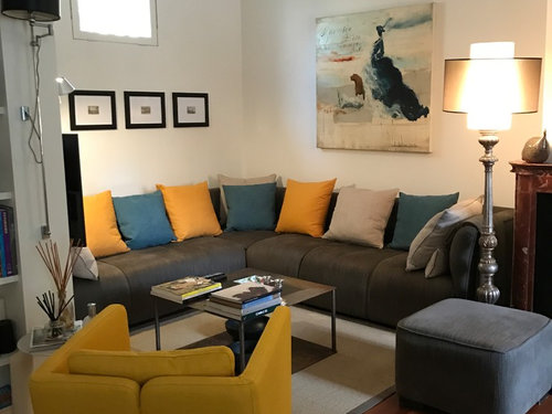Parete Dietro Divano Grigio : Parete colorata dietro al divano