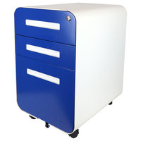 Bindertek Glide 3-Drawer Locking File Cabinet, Letter/Legal Size, Blue