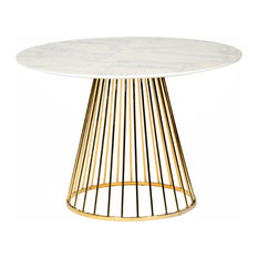 Modrest Holly Modern Gold Round Dining Table, White
