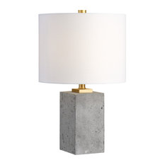 Uttermost Drexel Concrete Block Lamp, Gray and Gold