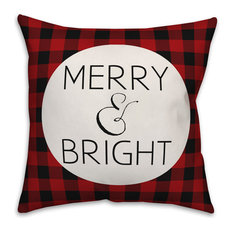"""Merry & Bright Red Plaid 18""""x18"""" Indoor / Outdoor Throw Pillow"""