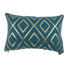 Bazar Metallic Cushion Cover, Petrol and Gold
