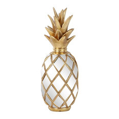 Modern Resin Pineapple Decor With Mirror Inlays