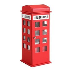 """11.5"""" British Red Telephone Booth Leather Jewelry Box"""