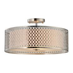 Woodbridge Lighting Spencer LED Semi-Flush, Nickel, Medium