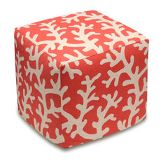 Coral- Coral Red Linen Upholstered Ottoman