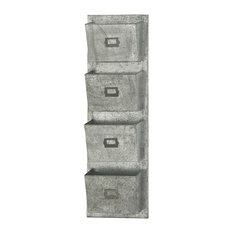4-Tiered Metal Galvanize Wall Pocket With Letterbox Design