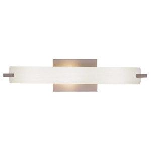 Minka George Kovacs Tube 3 Light Brushed Nickel Etched Opal Glass Vanity