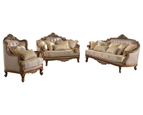 traditional living room furniture sets. Furniture Import \u0026 Export Inc. - Traditional Living Room Set With Golden Saddle Fabric, Sets W