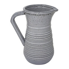 Sagebrook Home Ceramic 10' Decorative Pitcher, Gray Vase